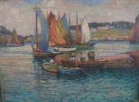 harbor scene by arthur j. beaumont