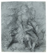 a rustic scene with a shepherdess and her admirer by thomas gainsborough