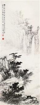 山水 立轴 设色纸本 by huang junbi