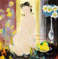 裸女 裱片 纸本 by lin fengmian
