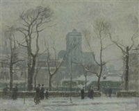 winter bryant park by paul cornoyer