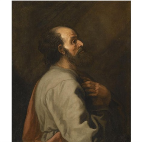 a bearded figure, standing in profile, at prayer by lambert jacobsz