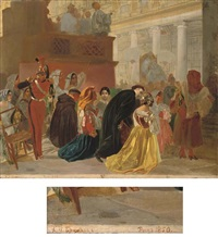 the return of pope pius ix to rome from basillica santa maria maggiore (study) by karl pavlovich bryullov