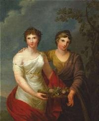 personifikation der freundschaft und dankbarkeit. zwei stehende, weibliche figuren, einen korb mit blumen haltend by andries cornelis lens