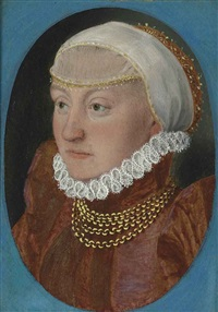 portrait of a lady, bust-length, in a red dress and headdress by hans holbein the younger