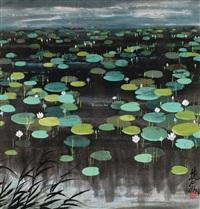 荷塘图 镜片 设色纸本 (lotus pond) by lin fengmian