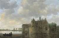 a river landscape with fishermen laying out their nets by a castle by jan josefsz van goyen