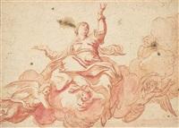 la vierge sur un nuage entourée d'anges by antoine dieu