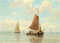 sailing boats on a calm sea by jacob willem gruyter