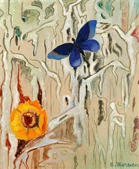 composition with bird and butterfly by else thoresen