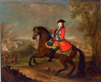 h.r.h. william augustus, duke of cumberland, on horseback, wearing frock uniform of the first guards with the ribbon and star of the garter, holding a baton, a view to the battle of culloden beyond by david morier