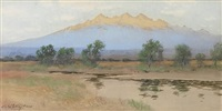 sierra blanca from the la jara river, san luis valley, colorado by charles partridge adams