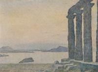 paysage symboliste: temple devant la mer by edward grenet