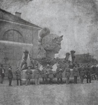 der transport der bavaria auf den theresienhügel by alois löcherer