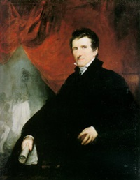 portrait of antonio canova seated, a view of his studio beyond by john jackson