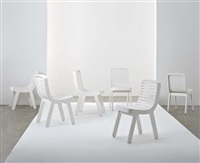 set of six wood chairs by michael young
