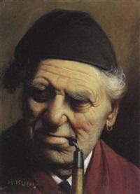 portrait d'homme à la pipe by johann-heinrich-chrisoph könig