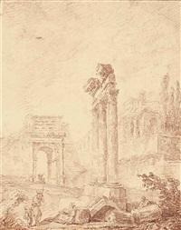 caprice architectural inspiré du forum romain avec le temple de castor et pollux et l'arc de titus by hubert robert
