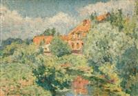 maison dans les arbres (la maison du peintre à santes ?) by emile ancelet