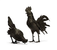 rooster and hen (2 works) by tanaka tadayoshi