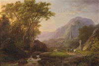 a mountainous summer landscape with cattle and a church beyond by johann bernard klombeck