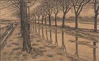 l'île des cygnes en hiver, la seine, paris (preparatory drawing) by henri rivière