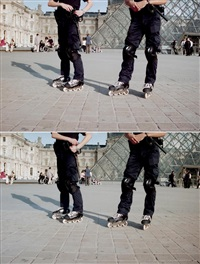 rollerblade police unit, louvre, paris, 1 and 2 by shaun gladwell