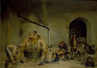 soldiers after training in an interior by henry j.l.w. d' acosta