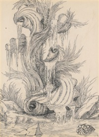 an ornate fountain of scrolled shells by emilio terry