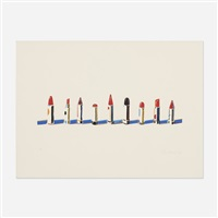 lipstick row (from seven still-lifes and a rabbit) by wayne thiebaud