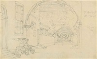 courtyard of the british factory at canton, with a fire engine and british factory from the waterfront at canton (2 works) by george chinnery