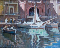 barche nel porto by alfredo sablautzki