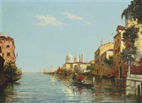 a gondolier on the grand canal, santa maria della salute beyond by charles cousin