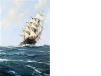 the glittering spindrift running before the wind by montague dawson