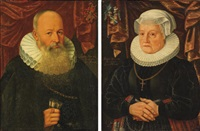 portrait of a gentleman in a black costume with a white molensteenkraag (+ portrait of a lady in a black costume; 2 works) by gerard van donck