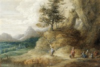 a mountainous landscape with travellers seated around a camp fire by lucas van uden