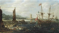 a coastal scene with a warship flying the papal warflag and a dutch sloop before a harbour entrance by andries van eertvelt