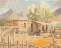 native american homestead with figures, chickens and cabin in the foreground and mountains in the background. in original wood frame by edward burns quigley