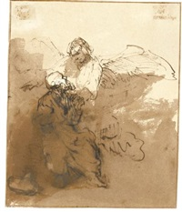 an angel appearing to an old man by ferdinand bol