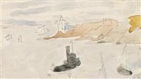 remorqueur et barques près d'un phare by louis valtat