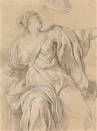 studie einer sitzenden weiblichen figur (dbl-sided study) by simon vouet