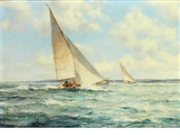 squally weather - racing cruisers, christchurch bay by montague dawson