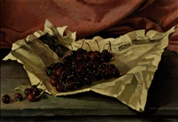 still-life with cherries on a newspaper by ger gerrits