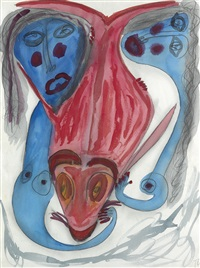untitled (fish and two women) by thornton dial