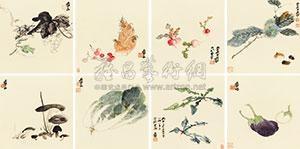 蔬果册 (the vegetable and fruit) (album w/8 works) by zhang daqian