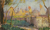 a view of bruges in summer by adrien jean le mayeur de merprés