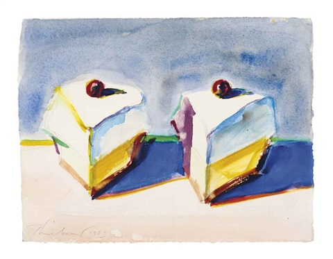 two lemon meringue pies by wayne thiebaud