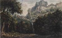 a mountainous wooded landscape with a waterfall, a seated figure and a tomb by jacob van liender