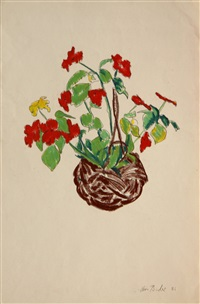 flowers in a basket by clive barker