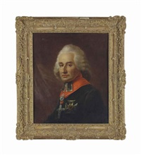portrait of friedrich karl joseph reichsfreiherr von erthal (1719-1802), prince-elector and archbishop of mainz, half-length, in a black cloak with a cruciform order and a diamond cross pendant, before a draped curtain by friedrich heinrich füger